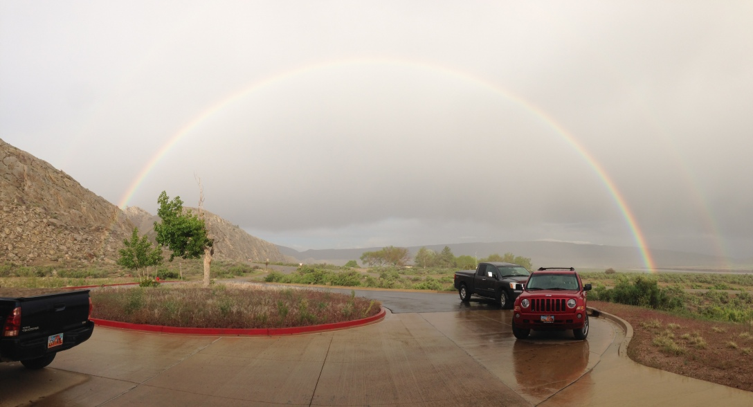 The double rainbow on my first evening at Dinosaur was so close we were tempted to walk to its ends