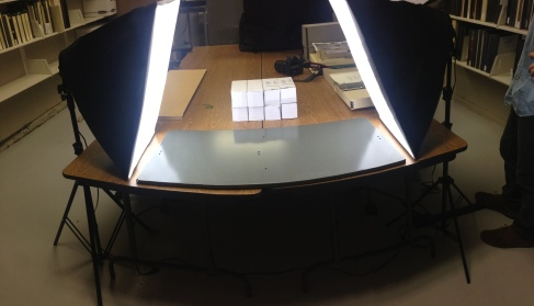 Our setup for scanning documents in the library at Dinosaur National Monument