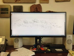 I'm working in Adobe Illustrator to tune up a layered vector file of all the bones that were originally in the quarry. The end goal is to have them grouped by taxa, institution residing at, and even individual specimen when possible.