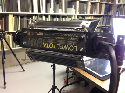 We had to get creative with some large size documents we found in the archives. Our existing lights weren't bright enough to light them evenly, so Dan Chure brought out these. They get too hot to safely use all day, so we just bring them out for the big guys now.