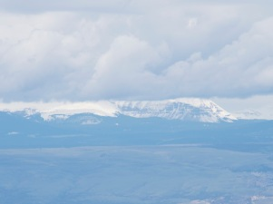The Uinta Mountains, still capped with snow in the distance.