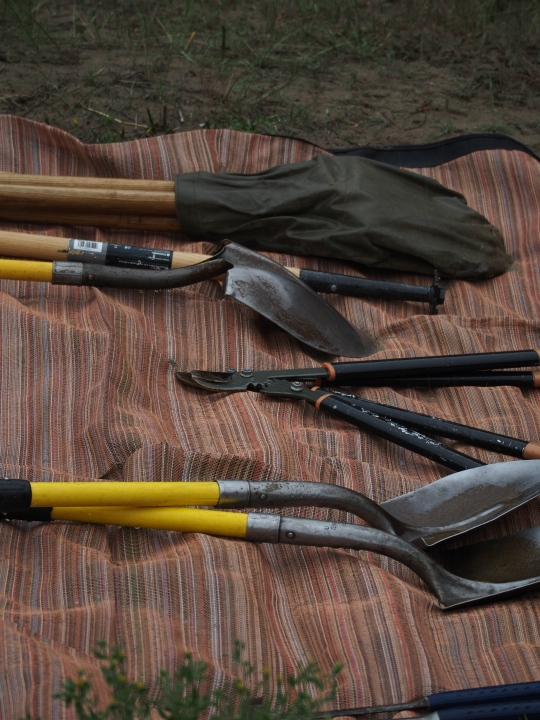 All of the tools for pulling tamarisk have to be carried on the rafts.