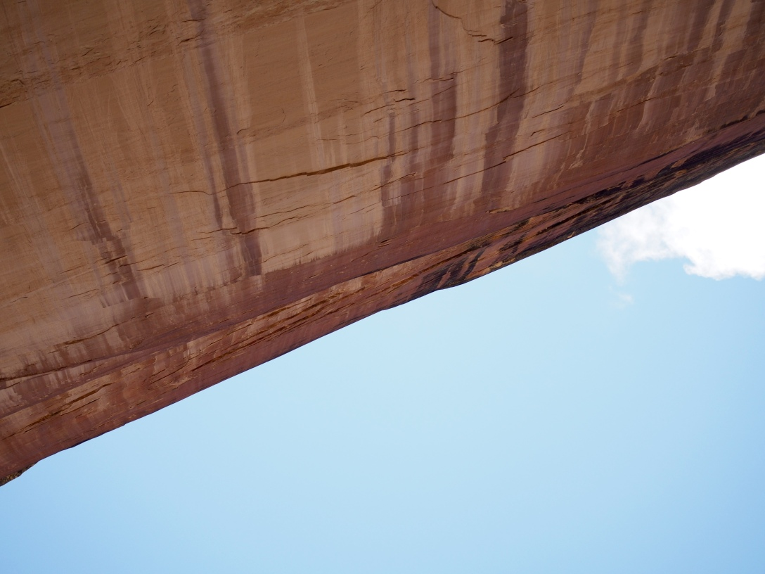 Looking up at the Grand Overhang, made from Weber sandstone.