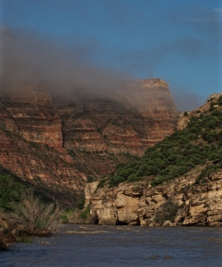 The Green River flows through Dinosaur National Monument as the fog lifts. This river and Yampa that merges into it at Steamboat Rock were my home for five days.