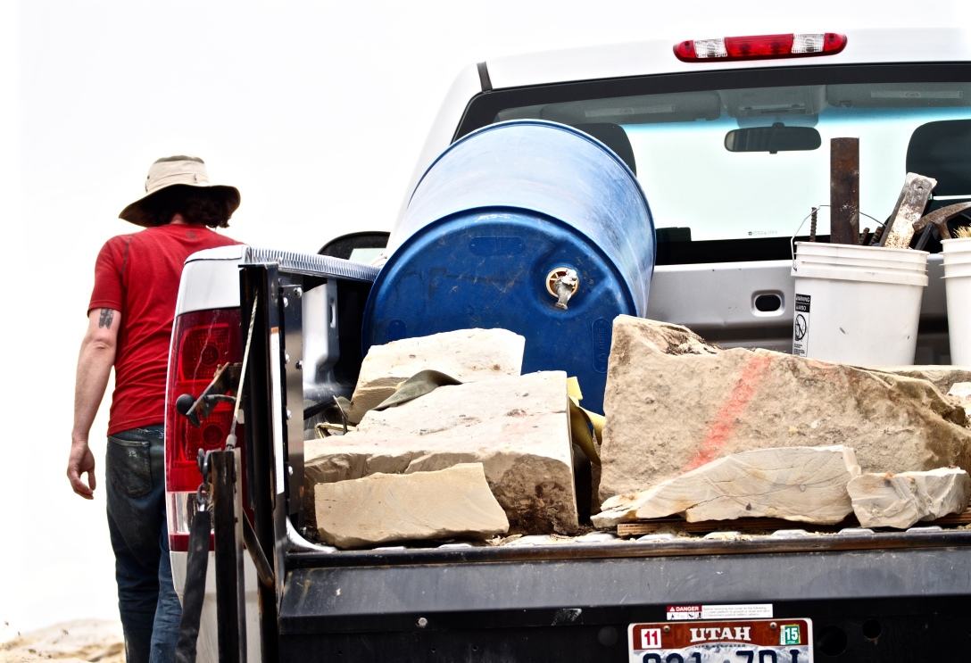 We filled the truck with sandstone blocks and sent them on their way. The blocks will be carefully prepped in the lab to find out what's in them.
