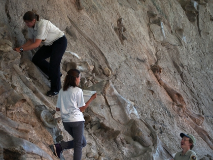 Trinity Stirling, Marie Jimenez and Elliott Smith at Carnegie Quarry, Dinosaur National Monument